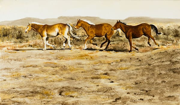 Raymond Wattenhofer Original Art Watercolor Corral Bound