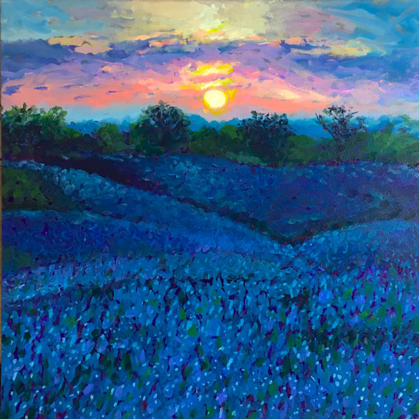 Hill Country Bluebonnets At Dusk