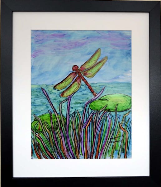 Dragonfly, Original Painting of a Dragonfly, Fine Art and Paintings for Sale by Teena Stewart of Serendipitini Studio