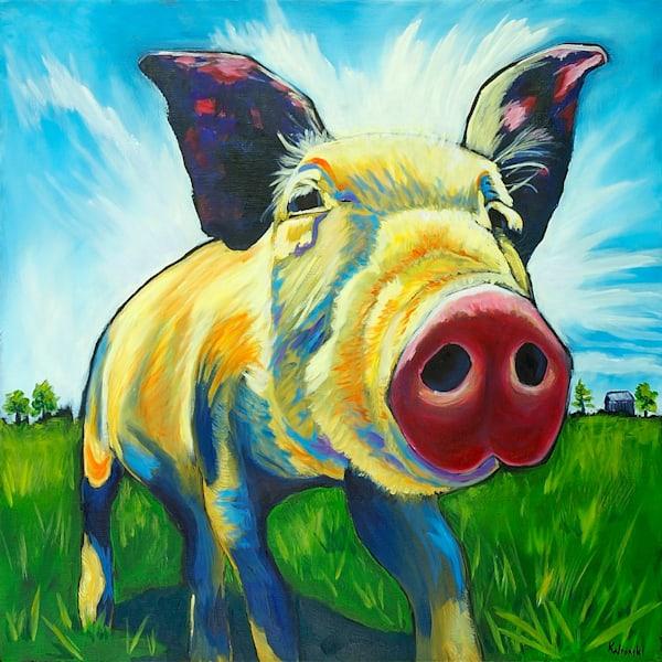 12x12 Happy Pig On Paper   HFA print gallery