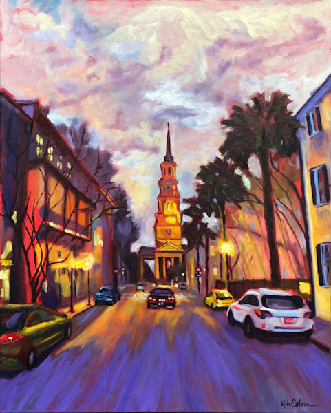 Twilight on Church Street - Charleston | Fine Art Painting Print by Rick Osborn