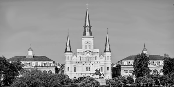 St. Louis Cathedral, Jackson Square BW