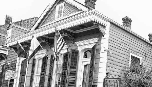 New Orleans Row House BW new orleans art