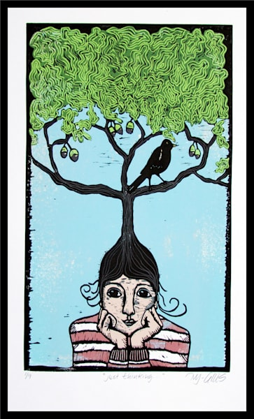 girl with an oak tree on her head, blackbird, a linocut reduction by Mariann Johansen-Ellis, art, paintings
