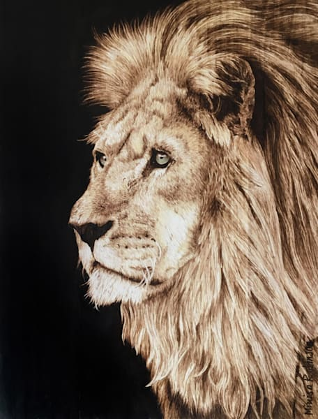 Quiet Honor- (African Lion Original Woodburning)