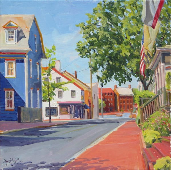 Flags Flying depicts an Annapolis Street Scene and was painting on location by Plein Air Artist Crystal Mol.