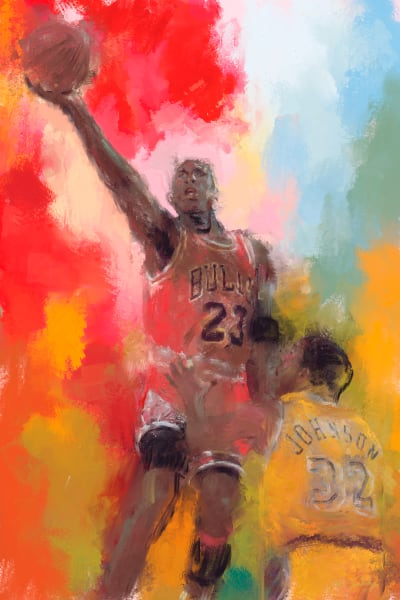 Michael Jordan airborne painting | Sports Artist Mark Trubisky | Custom Sports Art
