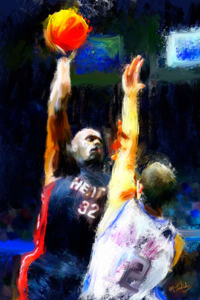 Shaq basketball painting | Sports Artist Mark Trubisky | Custom Sports Art