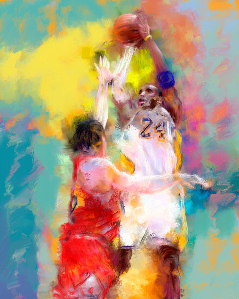 Kobe Bryant painting | Sports Artist Mark Trubisky | Custom Sports Art