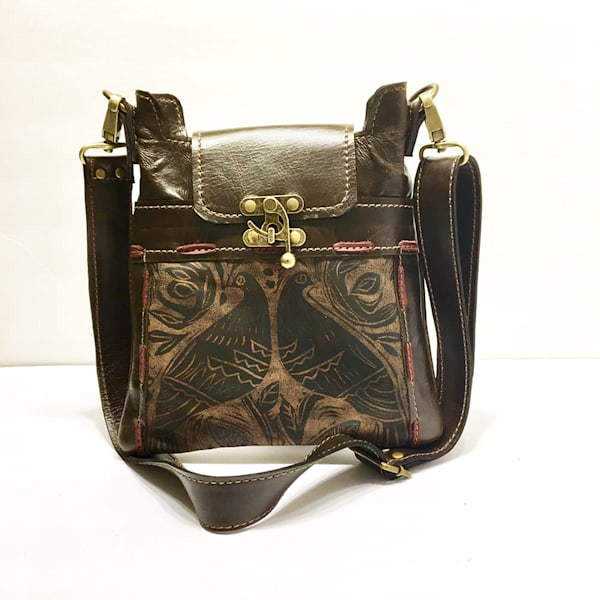 espresso small leather bag with double bird print madrid mini