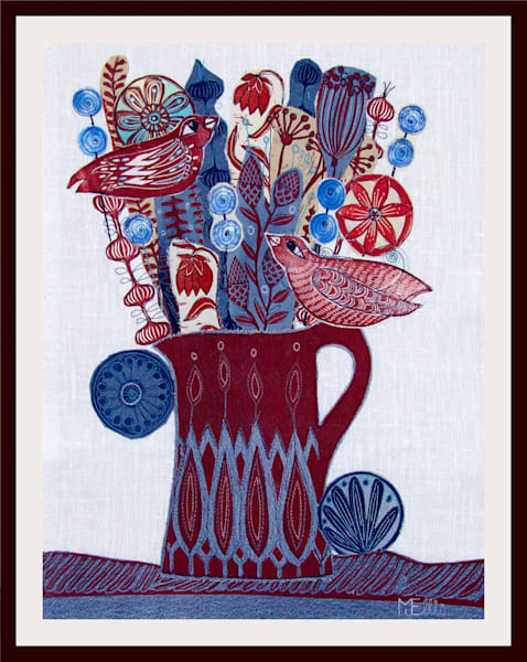 red and blue jug with flowers, and red birds, a linocut collage with handprinted fabrics by Mariann Johansen-Ellis, art, paintings
