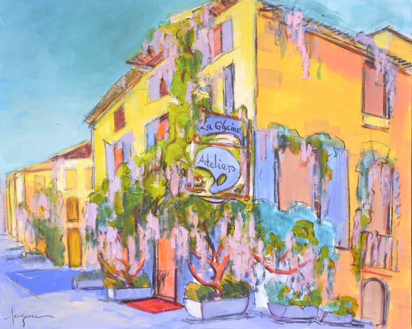 Colorful French Street Scene, Arles, France, Art Print on Canvas Atelier La Glycine by Dorothy Fagan