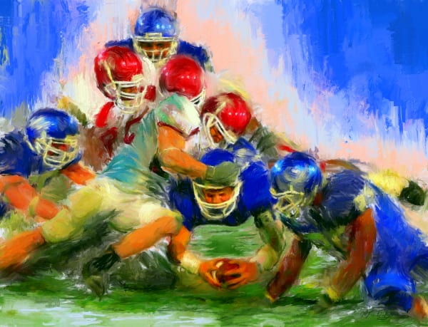 First down Football painting | Sports artist Mark Trubisky | Custom Sports Art