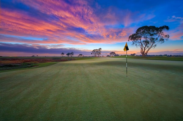 Palo Alto Baylands Golf Course, 3rd and 15th Green at Dawn