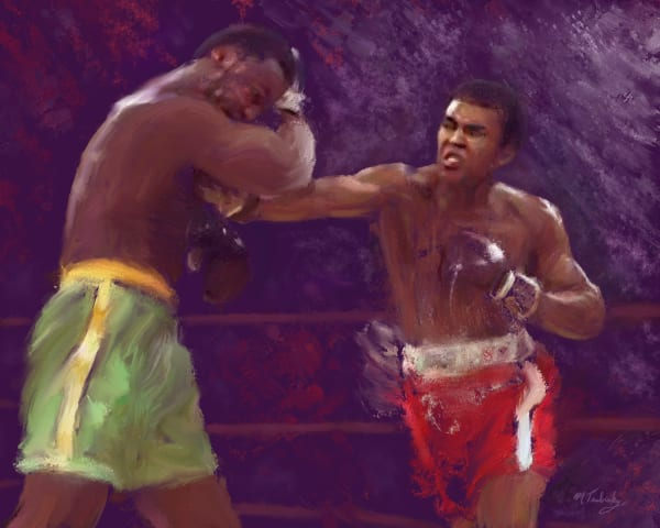 Muhammad Ali boxing painting | Sports artist Mark Trubisky | Custom Sports Art