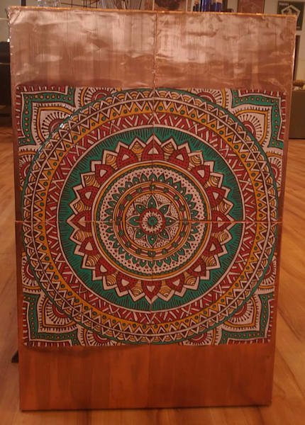 Lovely Copper Meditation Mandala. Large signature piece. Hand tooled, painted, patina & lacquer finish.