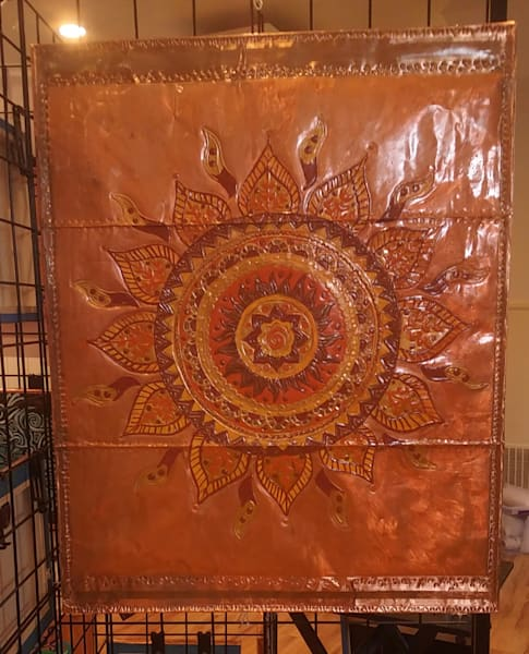 Large Copper Sun Mandala Repoussé Signature Piece.