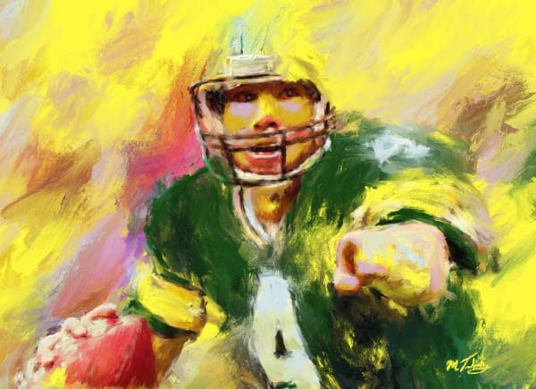 Brett Favre painting | Sports Artist Mark Trubisky | Custom Sports Art