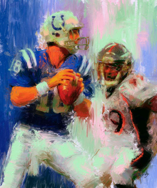 Peyton Manning painting | Sports Artist Mark Trubisky | Custom Sports Art