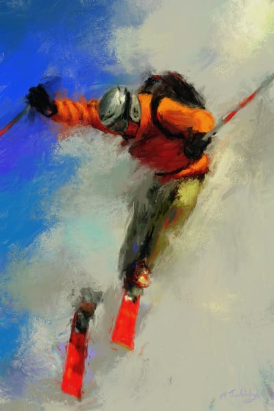 Extreme ski painting | Sports artist Mark Trubisky | Custom Sports Art