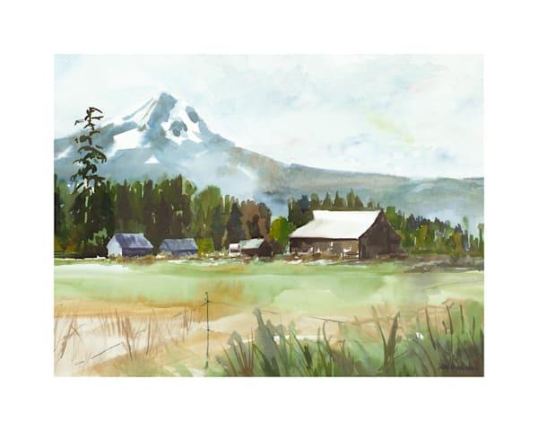 8x10 Mt Hood Farm House On Paper | HFA print gallery