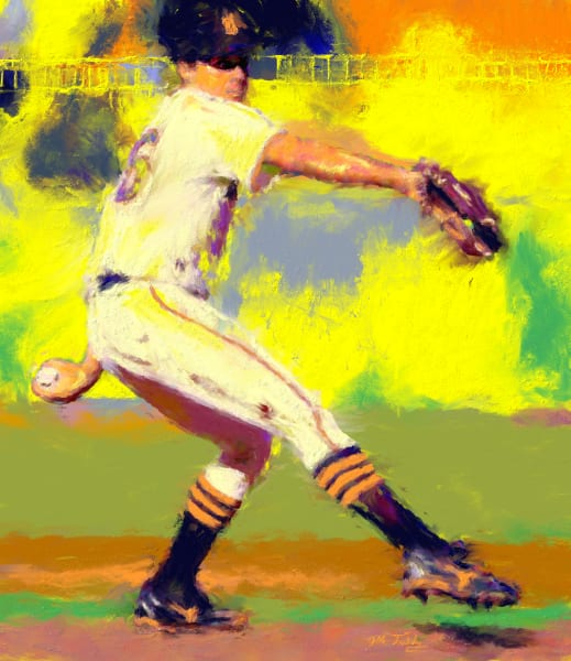 Pitcher windup Baseball painting | Sports Artist Mark Trubisky | Custom Sports Art.