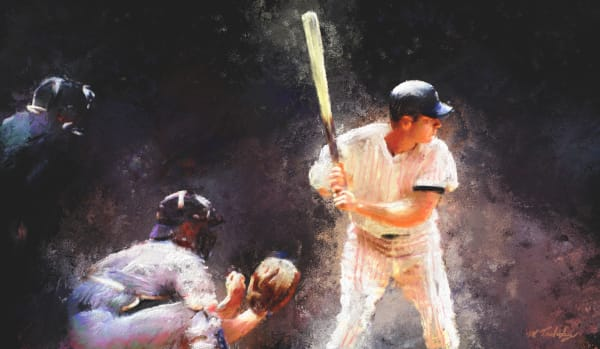 Home run at bat Baseball painting | Sports Artist Mark Trubisky | Custom Sports Art