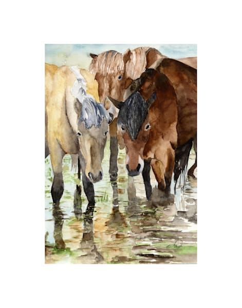 11x14 Horses At Water On Paper | HFA print gallery