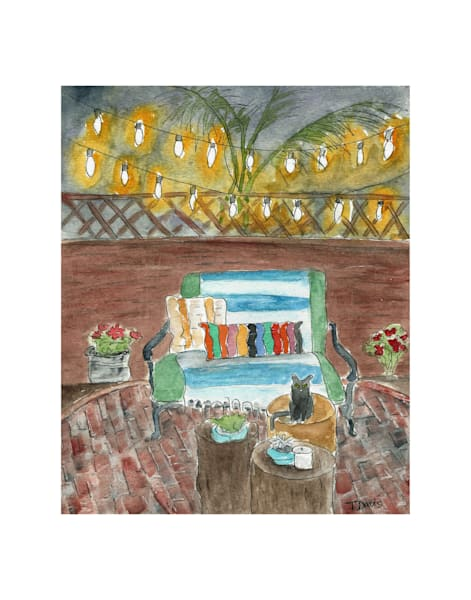 11x14 Nighttime Patio With The Cat | HFA print gallery