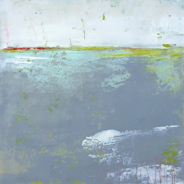 Martha's Shallows - Abstract Landscape Painting - Grey Wall Art