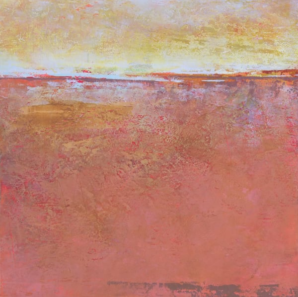 Fading Beauty - Abstract Seascape Painting - Orange Wall Art