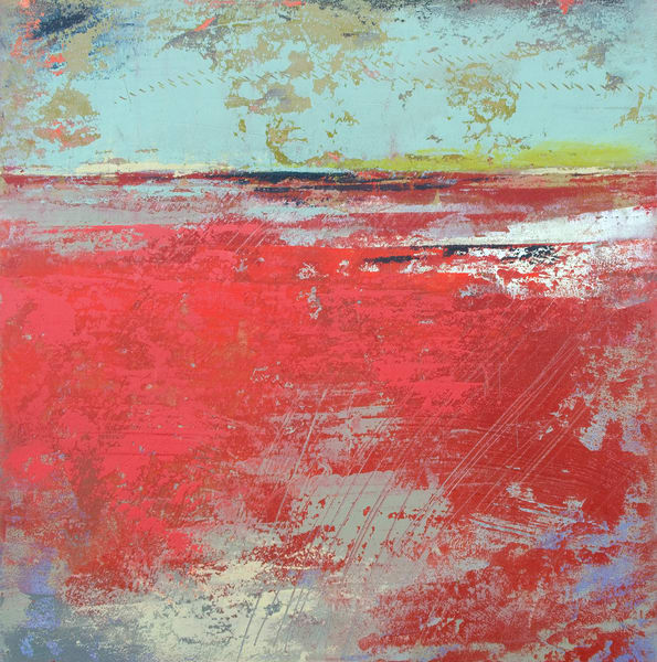 Cerise Harbor - Coastal Artwork - Red Wall Art
