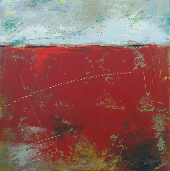 Red Wall Art - Abstract Landscapes by Victoria Primicias