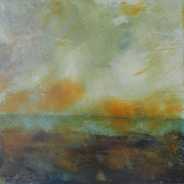 Blushing Silence - Ocean Paintings - Orange Wall Art