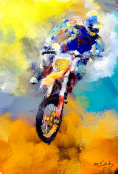 Airborne motorcycle rider painting | Sports Artist Mark Trubisky | Custom Sports Art