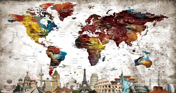World Map Water.Colorful Water Color World Map Art And Paintings Printed On