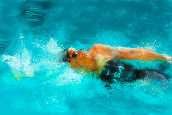 Swim race painting | Sports artist Mark Trubisky | Custom Sports Art