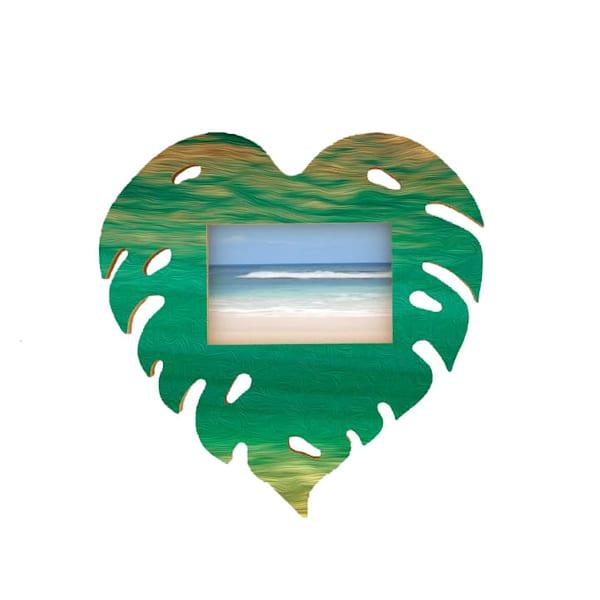 Monsterra Heart Teal Cutout Frame
