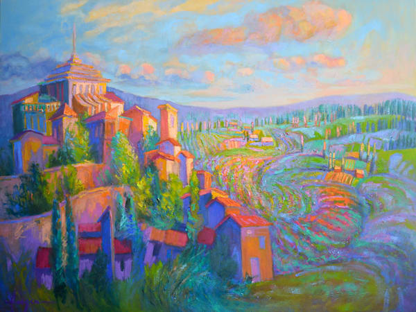 Lavender Fields France Oil Painting Lavande Magic by Dorothy Fagan