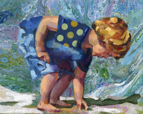 Little boy at the beach painted in against abstract blue colors.