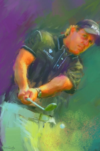 Phil Mickelson painting | Sports artist Mark Trubisky | Custom Sports Art
