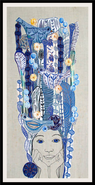 blue eyed girl portrait in hand printed fabrics with blue flowers and birds, a one of a kind textile collage by Printmaker Mariann Johansen-Ellis