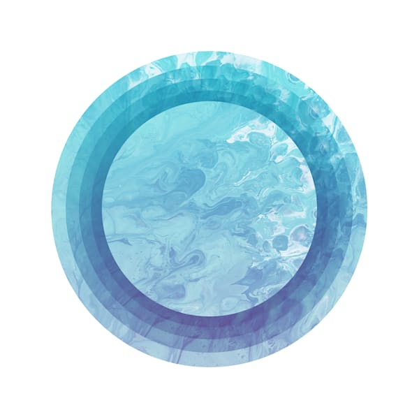 """Blue Swirl Circles"" Graphic Design Fine Art Print"