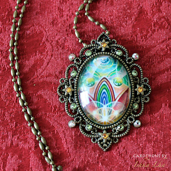 Rainbow Rising - Visionary Art Necklace by Ishka Lha