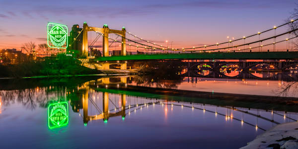 Hennepin Reflections in Green - Minneapolis Art | William Drew