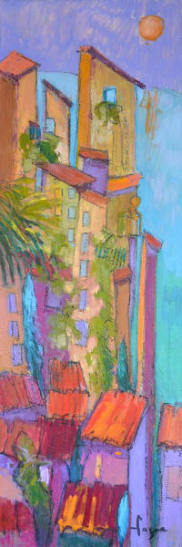 Whimsical Cinque Terre Architecture Art Print on Canvas or Watercolor Paper by Dorothy Fagan