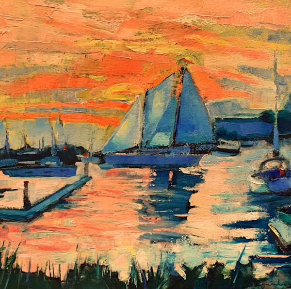 sunset sailboat Annapolis sailing plein air original oil painting