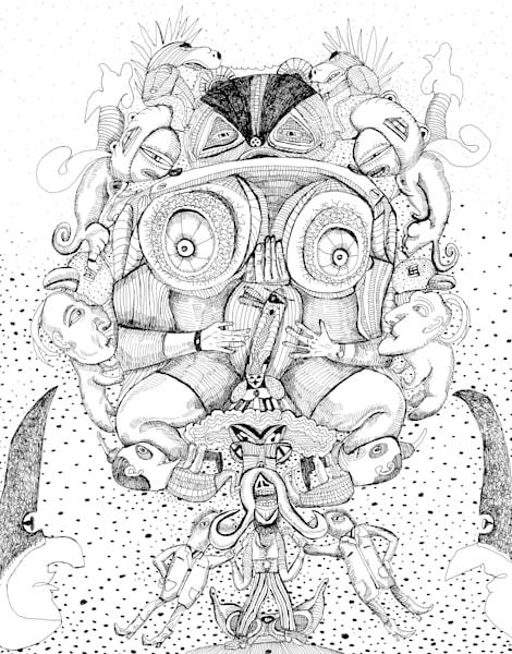 Clinging On, Bart Johnson, B/W Drawing