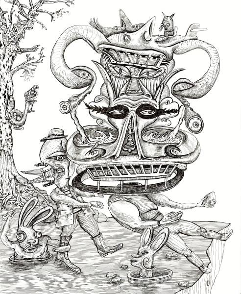 Precipice, B/W Drawing, Bart Johnson