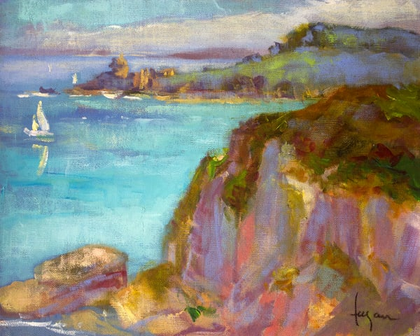 View Fort La Latte Fine Art Print Painting by Dorothy Fagan